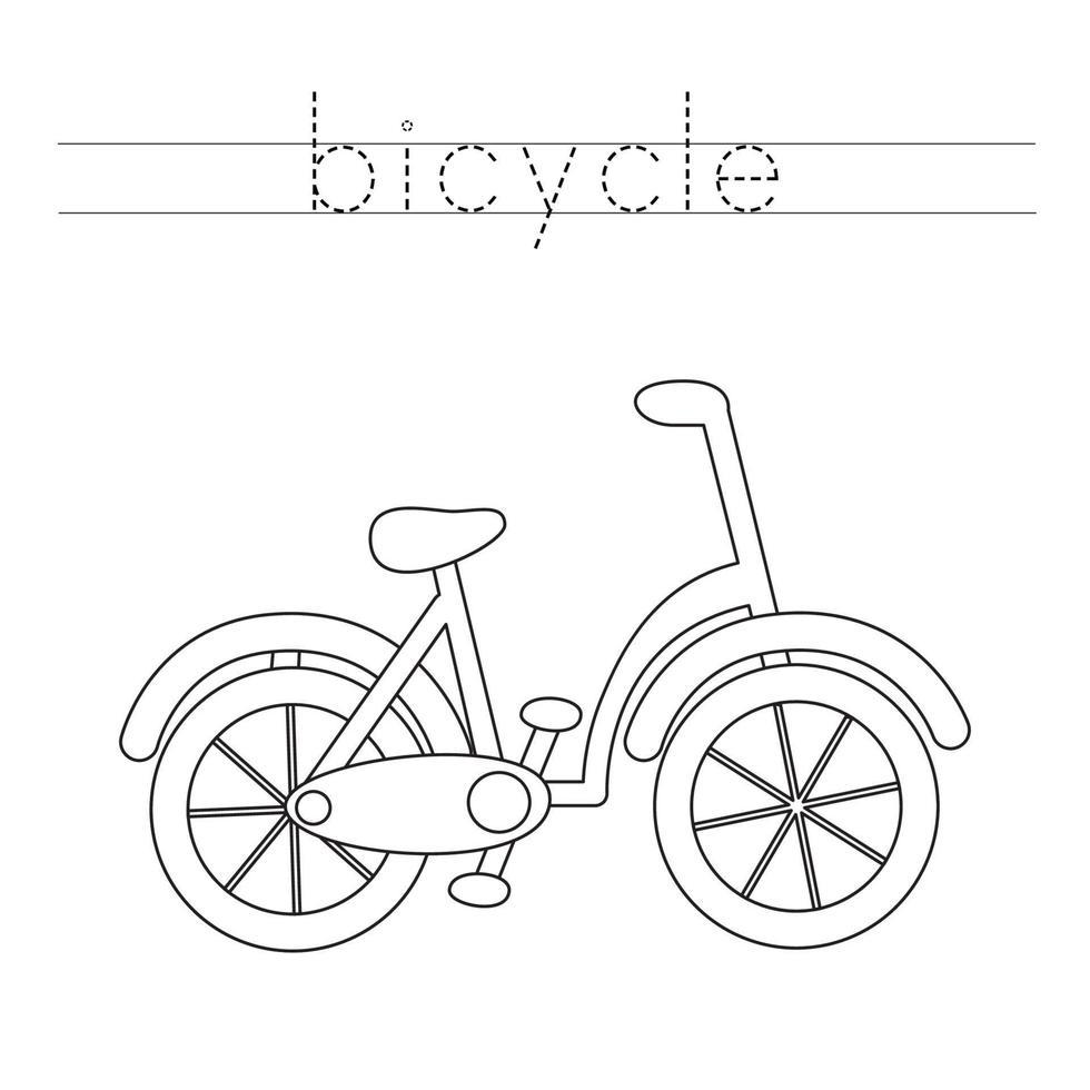 rastreamento de letras com bicicleta de desenho animado. prática da escrita. vetor