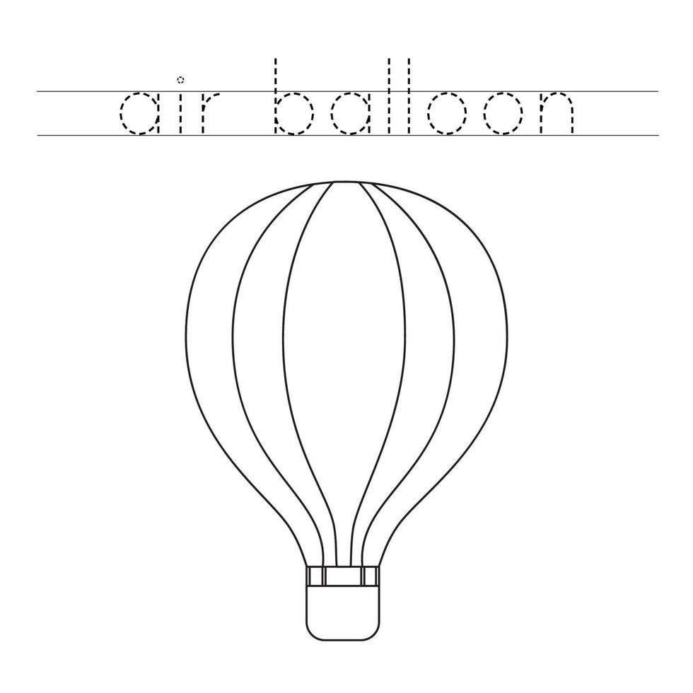 rastrear a palavra. balão de ar quente de cor. prática de caligrafia para crianças pré-escolares. vetor