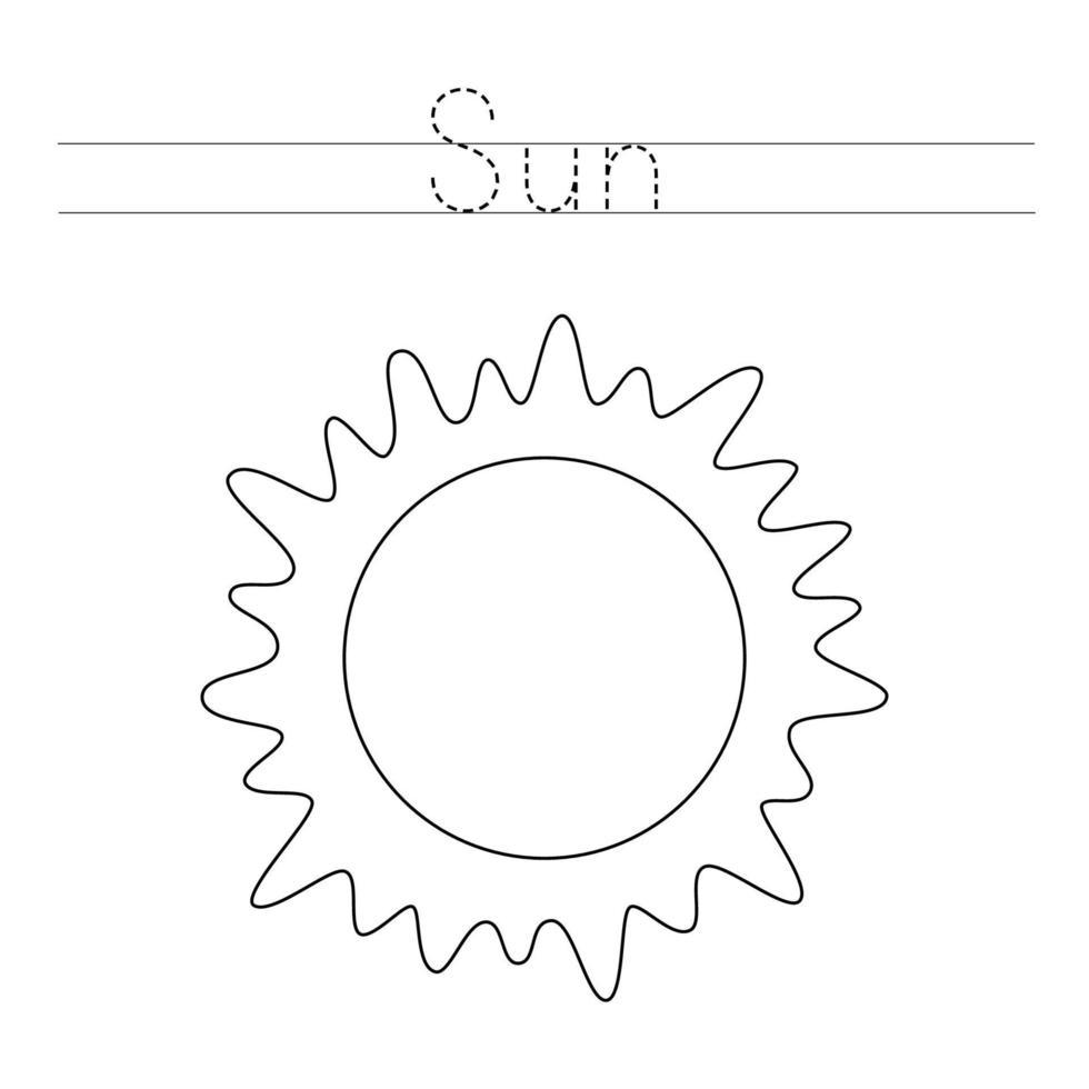 traçando letras com sol. prática de escrita para crianças. vetor