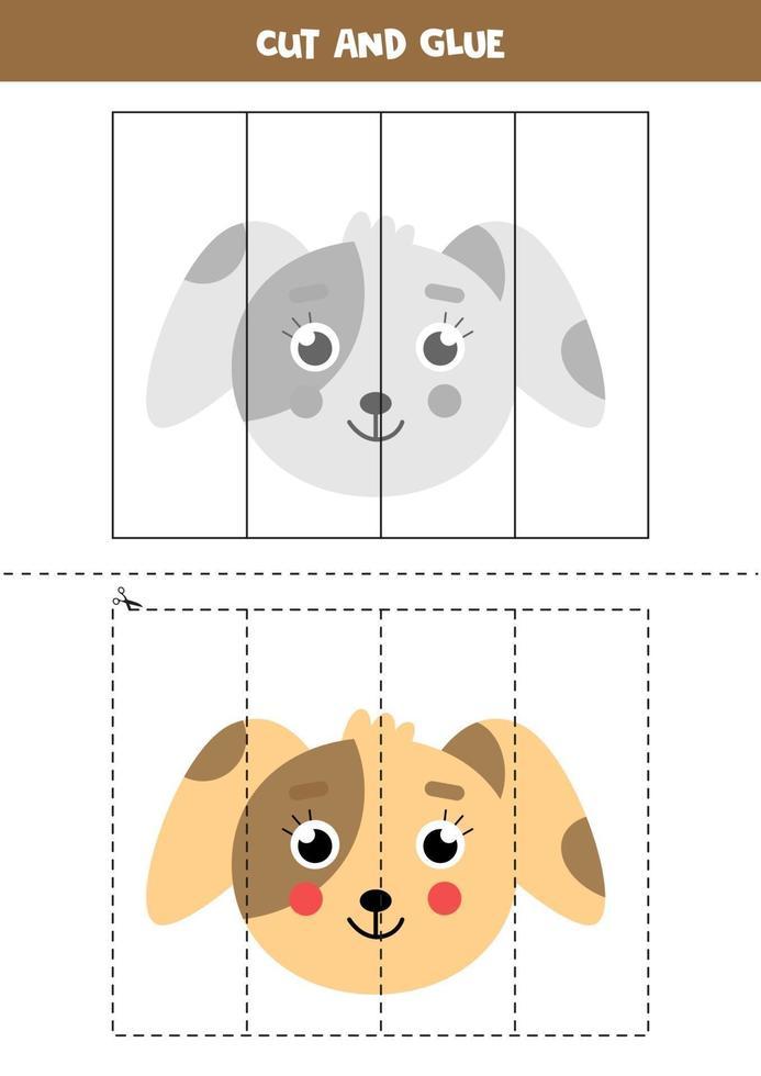 Corte e cole o jogo para crianças. cão bonito dos desenhos animados. vetor