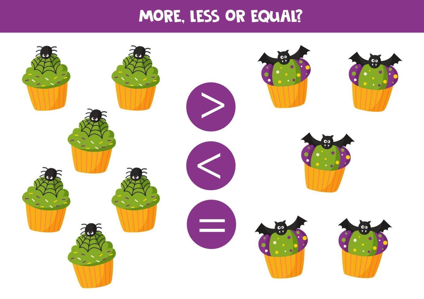 mais, menos ou igual aos muffins de halloween. vetor