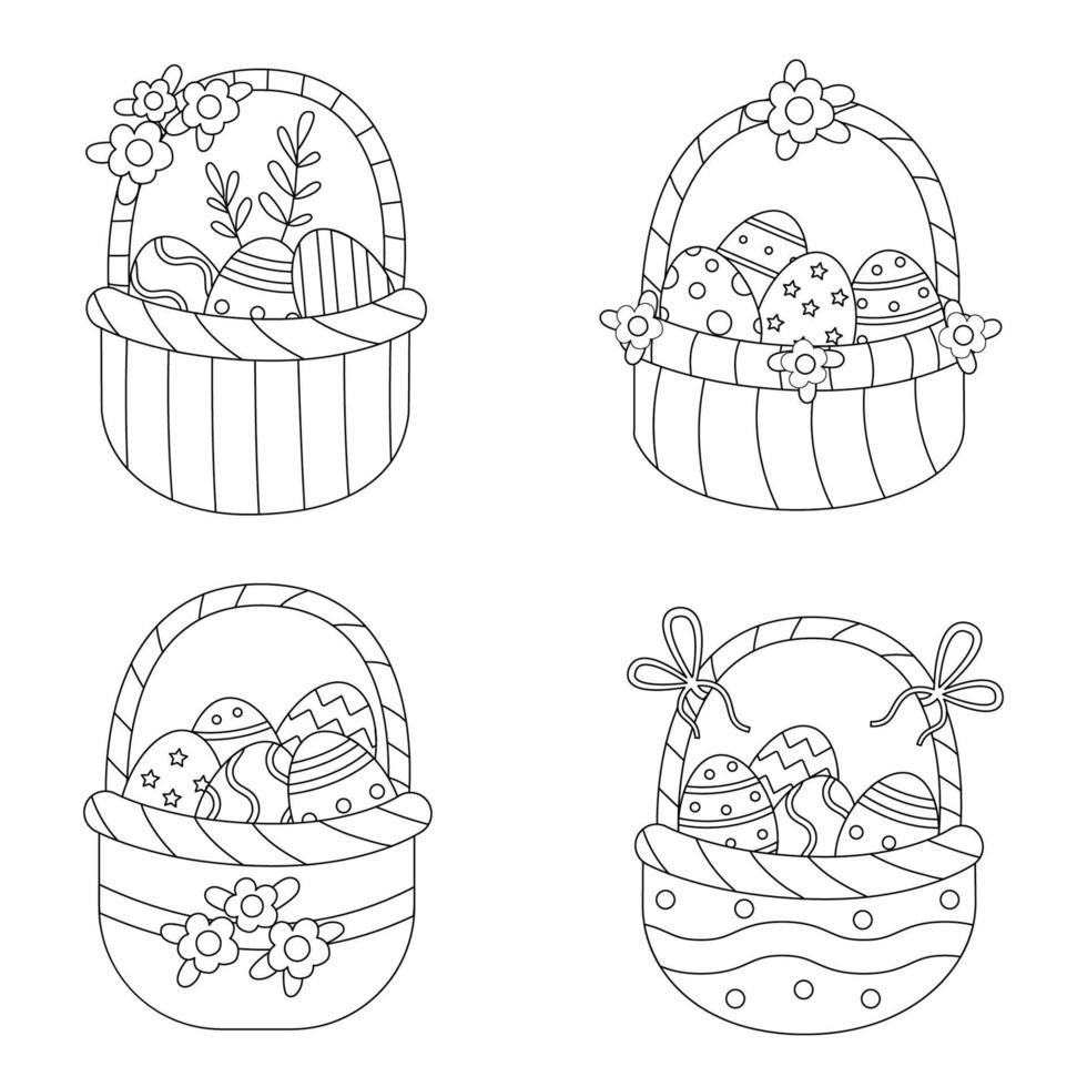 cor cestas de páscoa. página para colorir para crianças. vetor