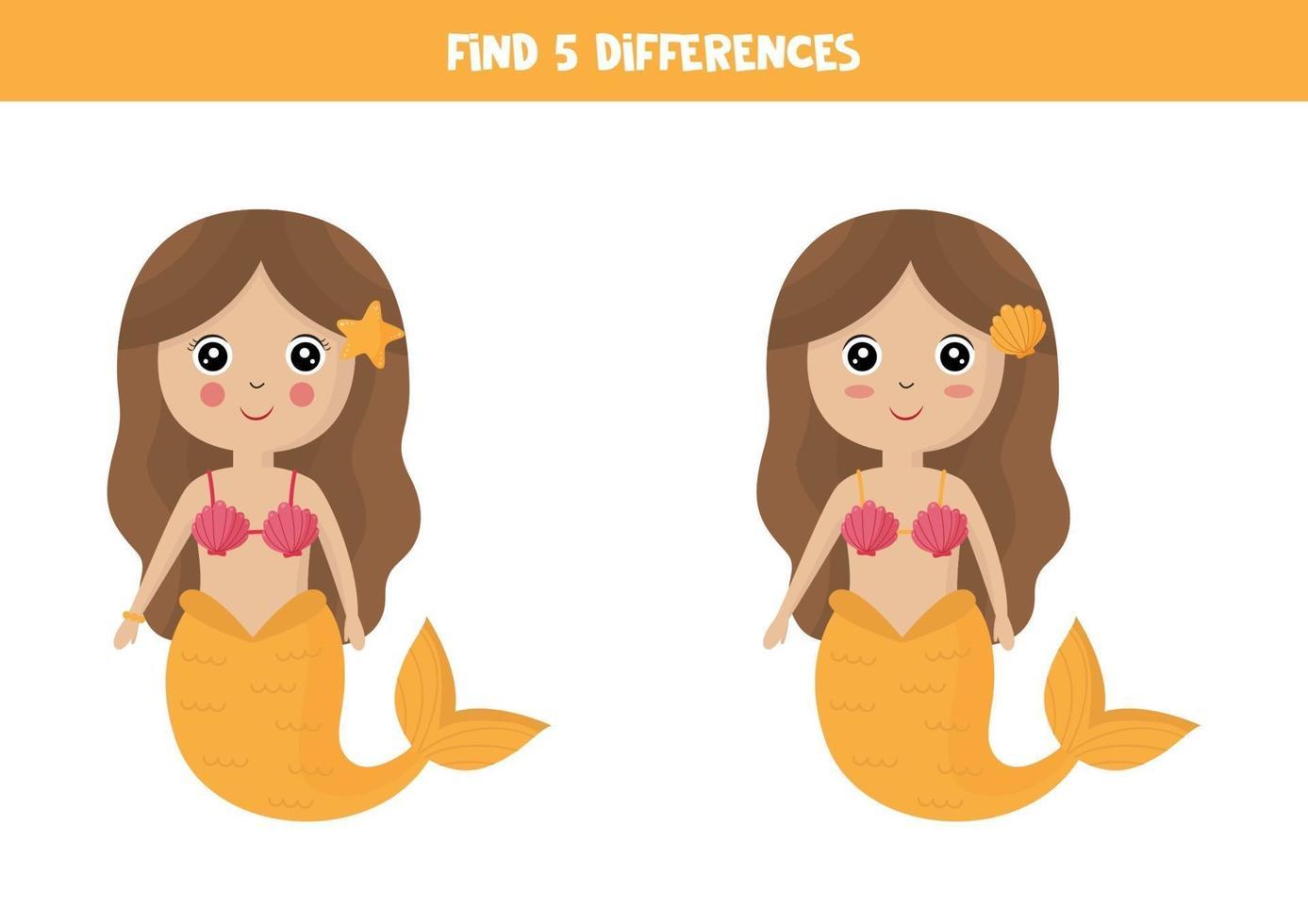 encontre 5 diferenças entre duas sereias fofas. vetor