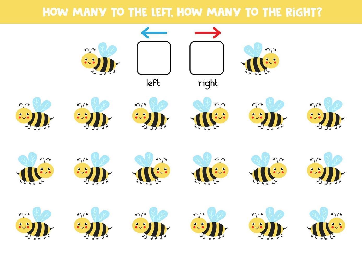 esquerda ou direita com abelha bonita. planilha lógica para pré-escolares. vetor