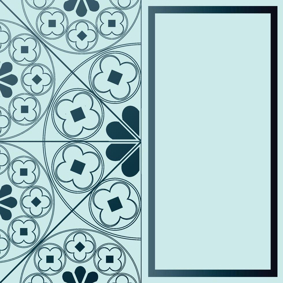 padrão medieval floral fundo modelo retângulo tons de azul vetor