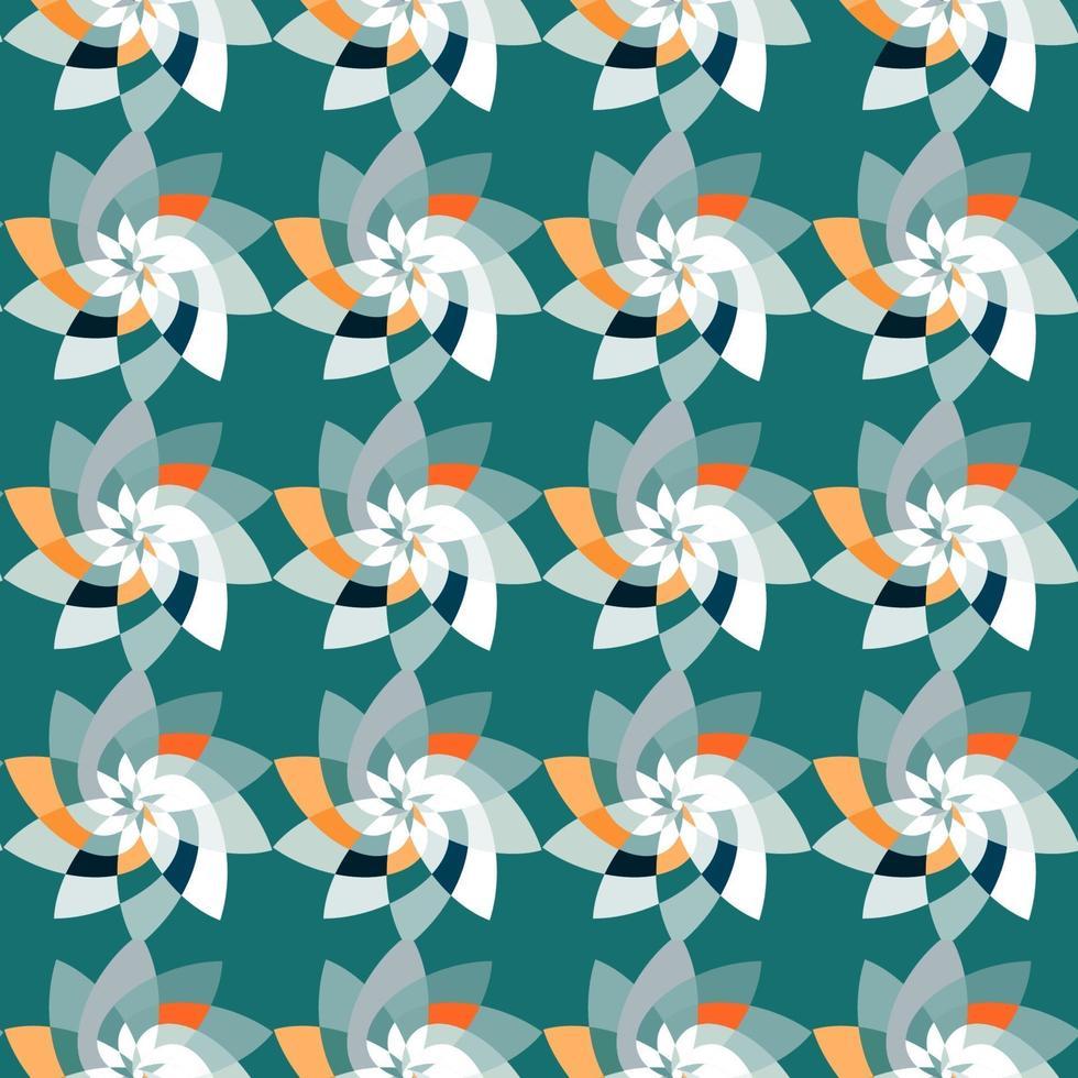 flor gráfico repetindo padrão de fundo verde-azulado vetor
