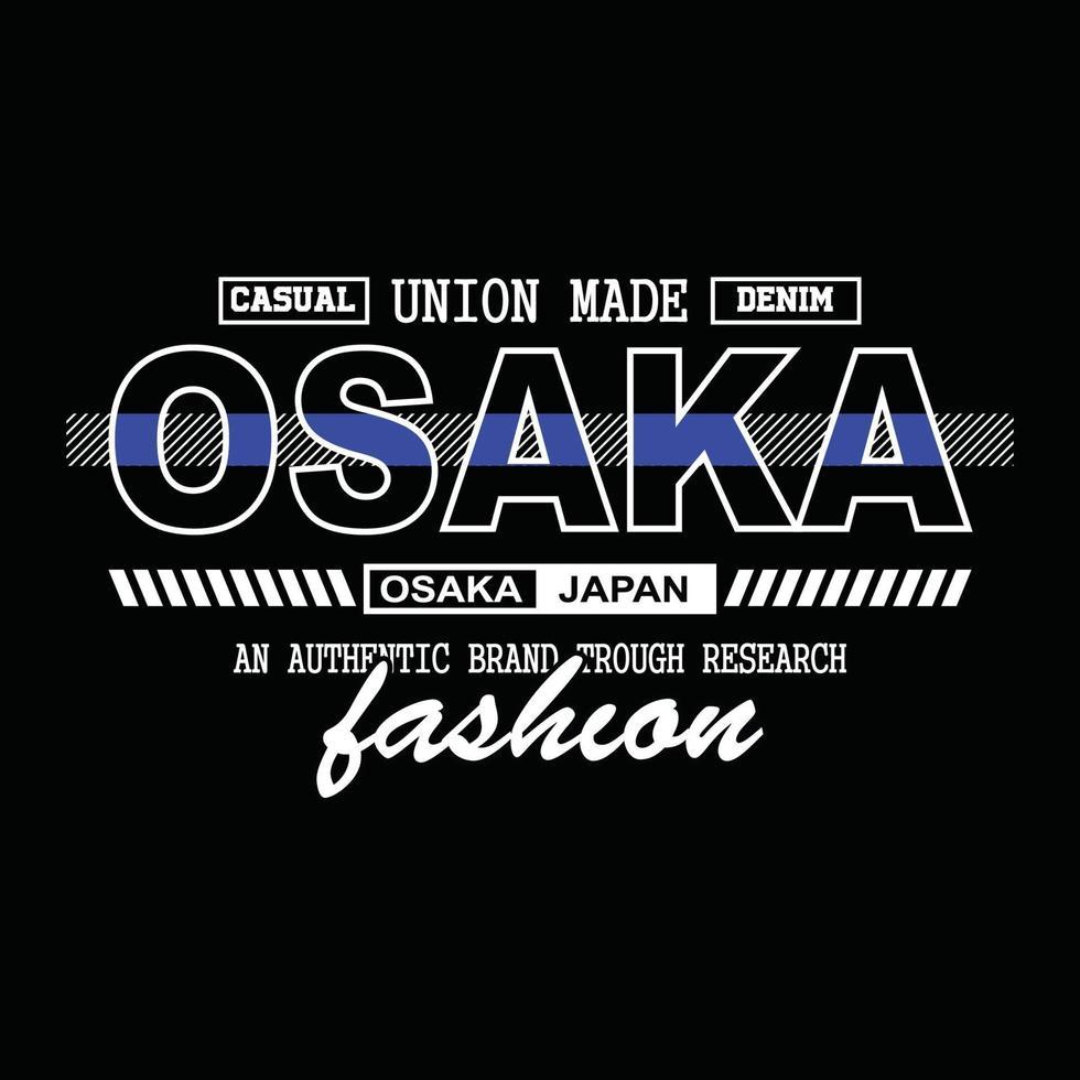 japão osaka denim tipografia design de t-shirt vetor