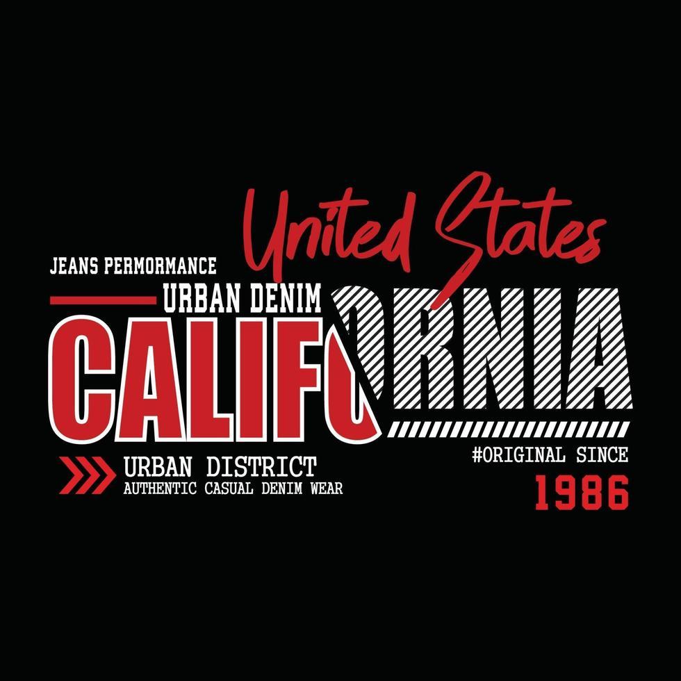 design de t-shirt tipografia jeans eua califórnia vetor