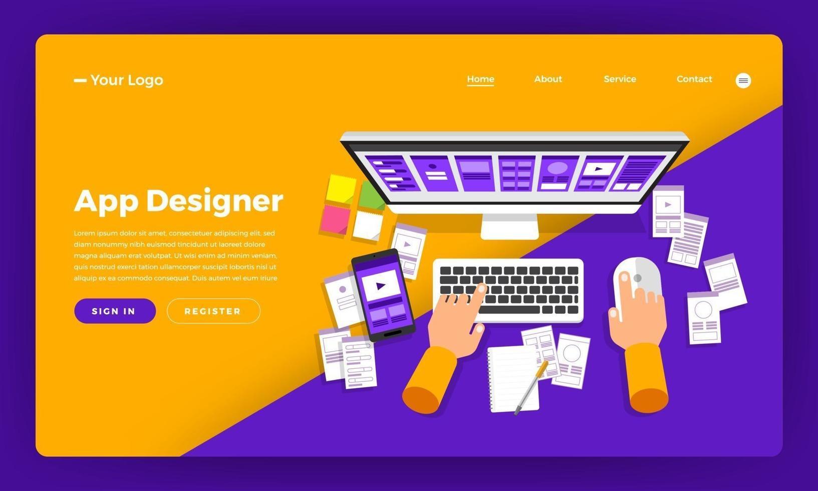 designer de aplicativo desenvolvendo maquete de site vetor