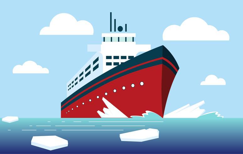 Ilustração em vetor quebra-gelo de navio