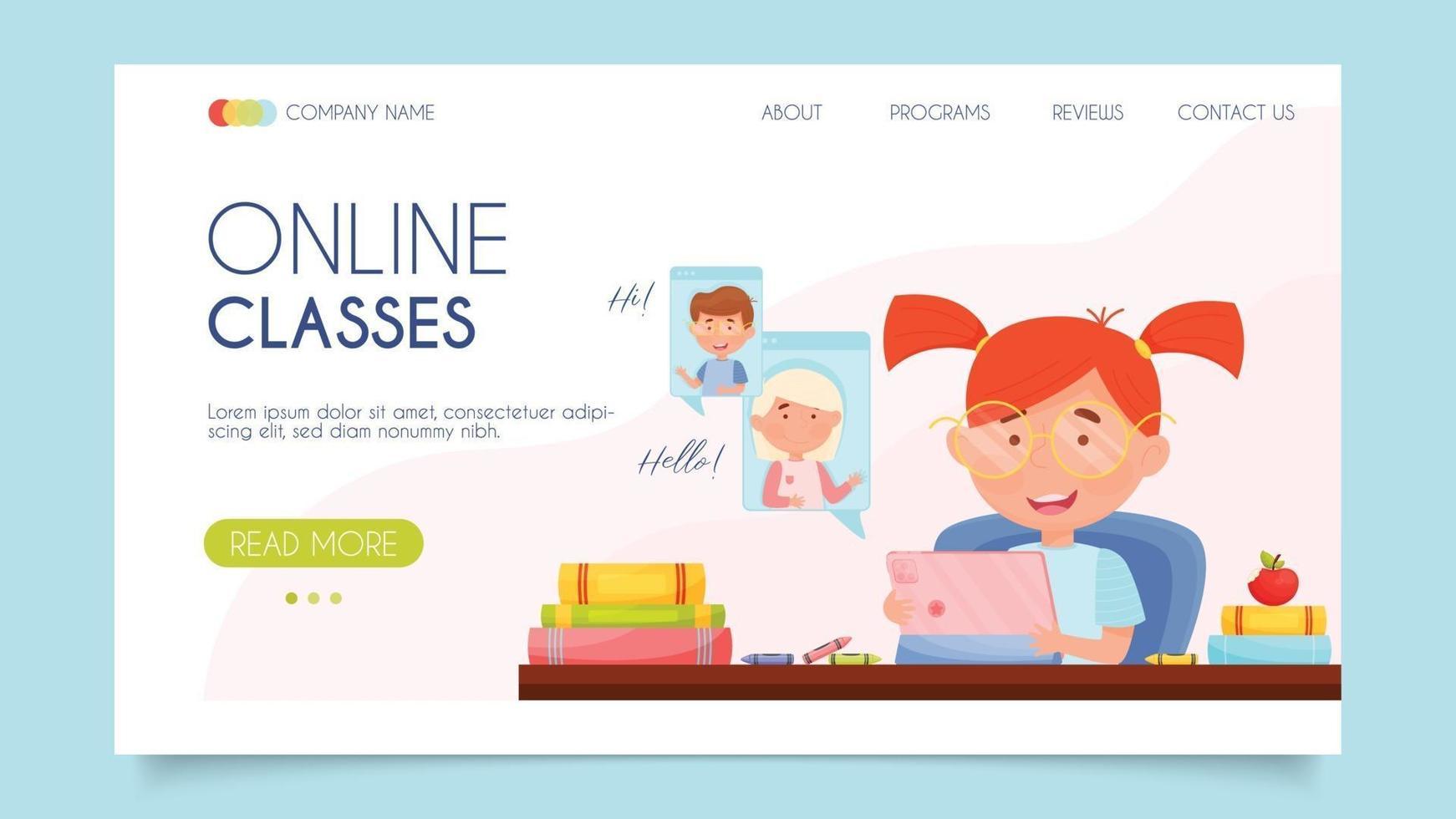 aulas online. conceito de página de destino. design plano, ilustração vetorial. vetor