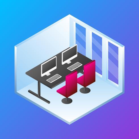 Conceito de escritório em casa isométrica ilustração vetorial vetor