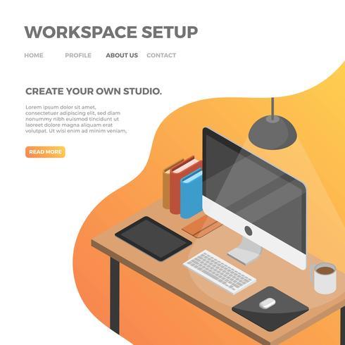 Configuração de espaço de trabalho plano isométrico com ilustração em vetor fundo laranja gradiente