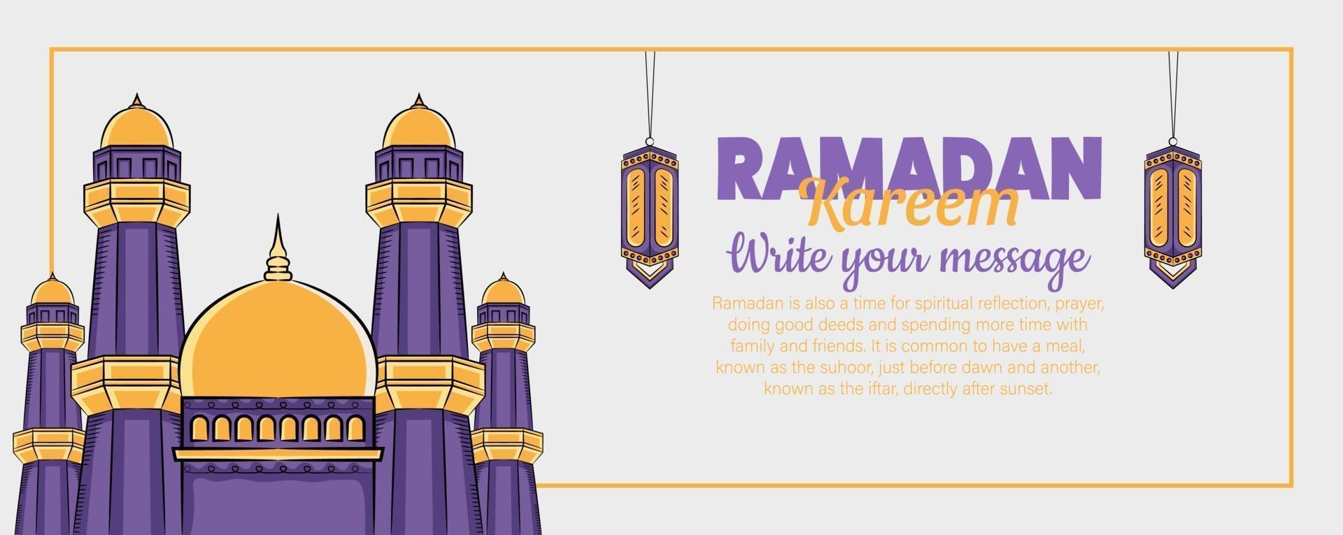 banner ramadan kareem com ornamento de ilustração islâmica desenhada à mão vetor