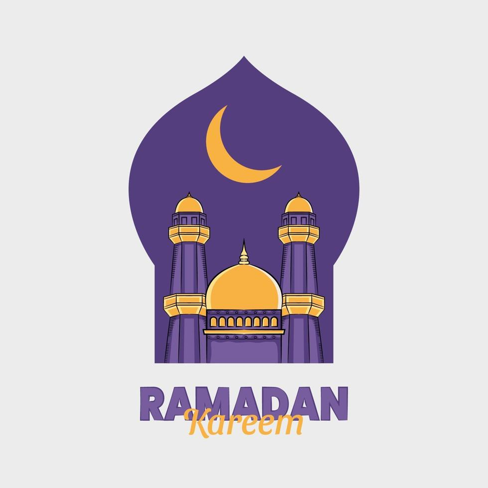 ilustração desenhada à mão de ramadan kareem ou eid al fitr dias saudação vetor