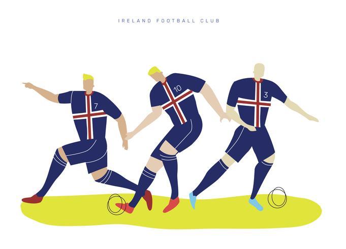 Ilustração de personagem do Irlanda Copa do mundo futebol jogador Falt Vector