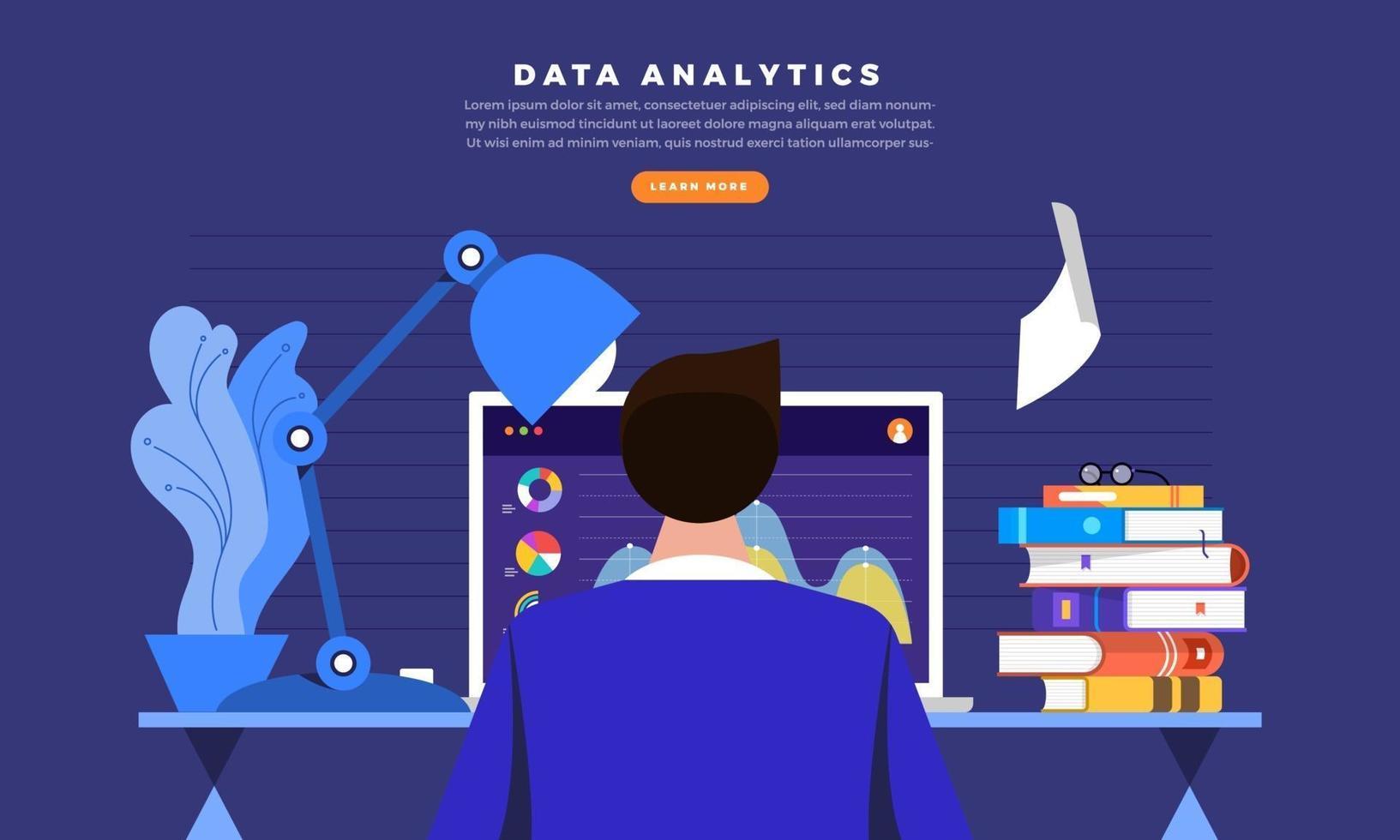 empresário trabalhando na análise de dados no computador vetor