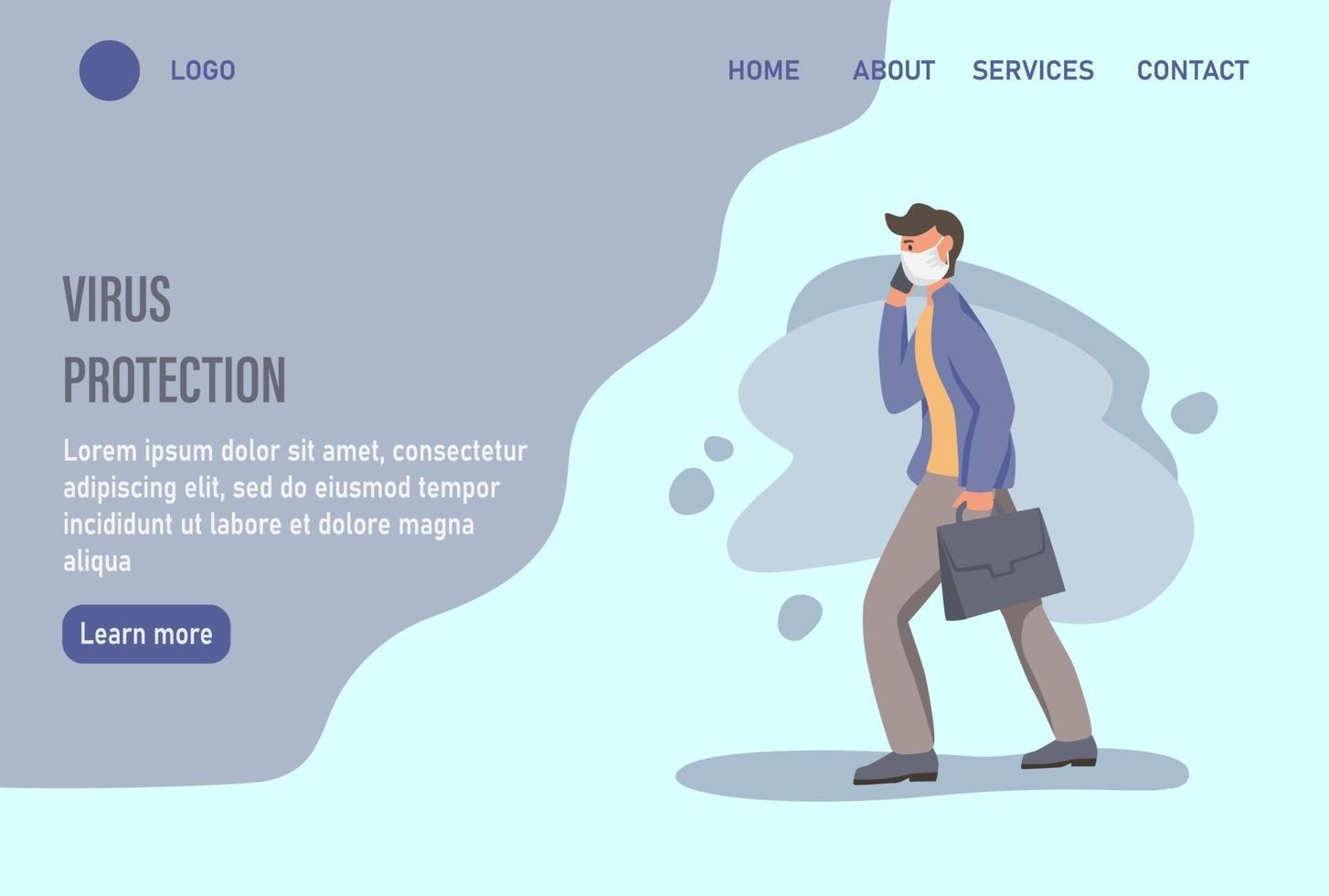modelo de página da web de destino de proteção contra vírus com um homem usando uma máscara facial vetor