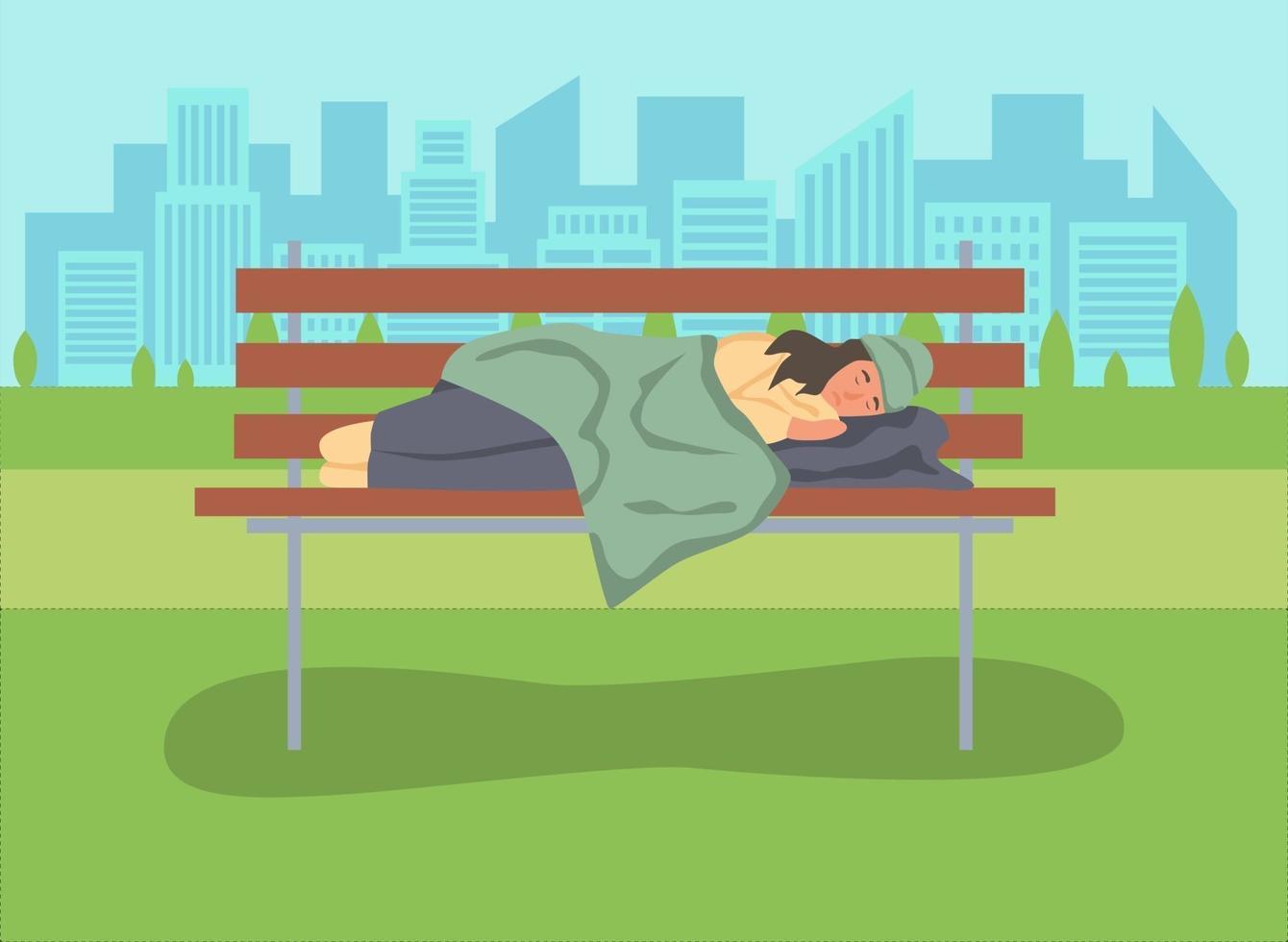 mulher sem-teto dormindo em um banco de parque vetor