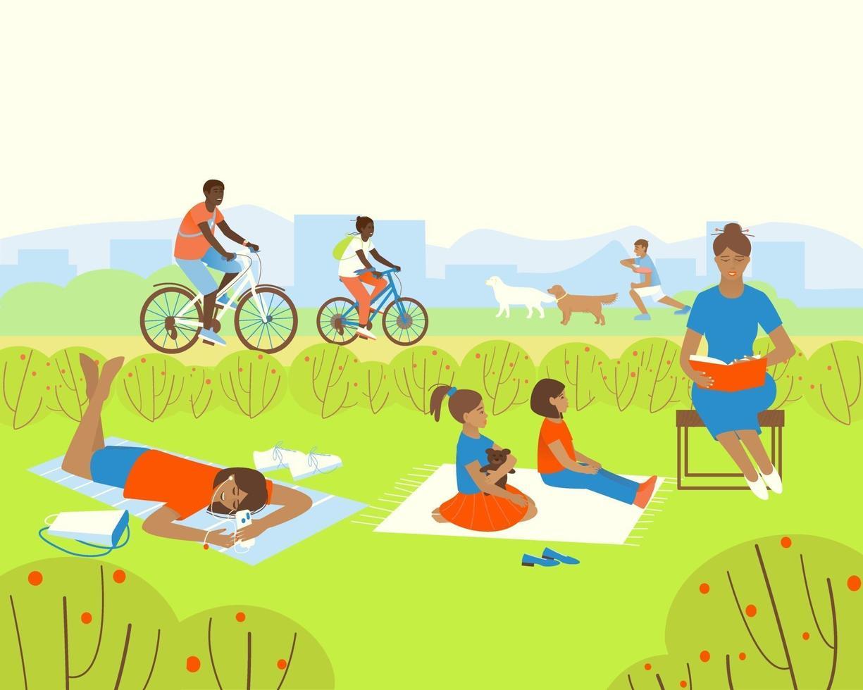 relaxe no parque de verão vetor