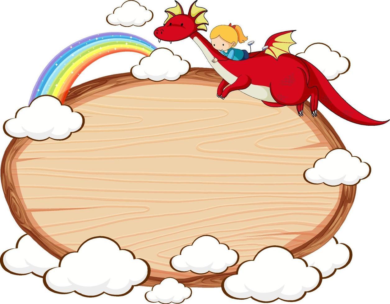 banner de madeira vazio com personagem de desenho animado de conto de fadas e elementos isolados vetor