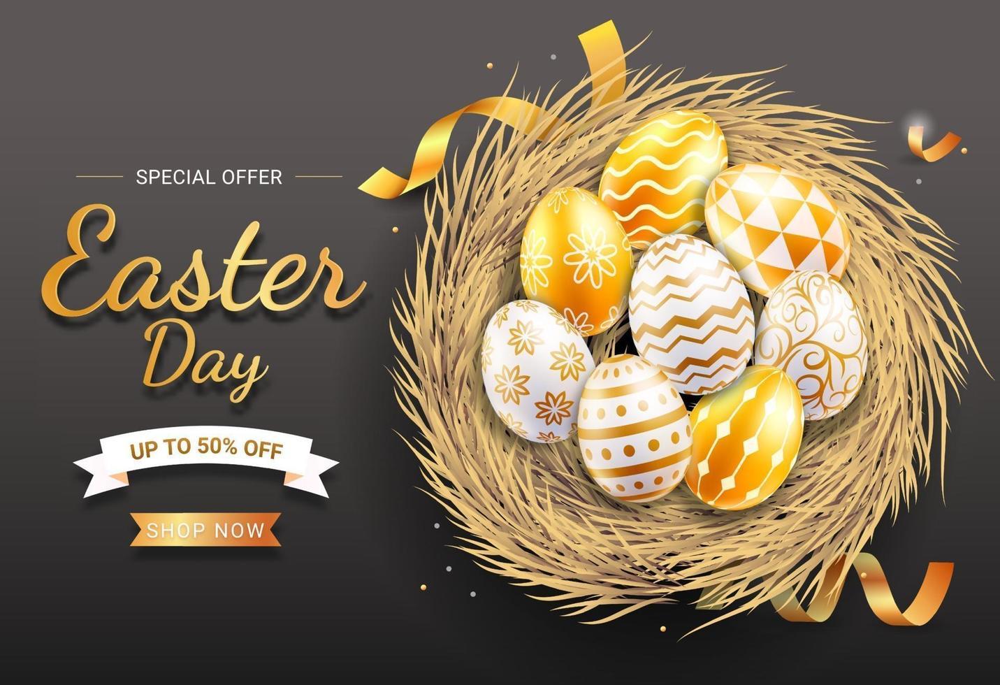 feliz dia de Páscoa ouro e ovos de Páscoa brancos com diferentes padrões e texturas no ninho de ovo. ilustrações vetoriais. vetor