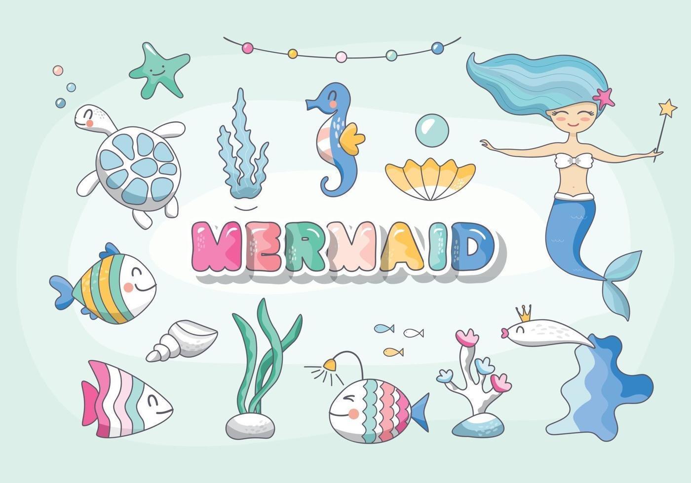 conjunto sereia fofa, personagens do mar e plantas. coleção de aniversário de animais marinhos dos desenhos animados para meninas. vetor