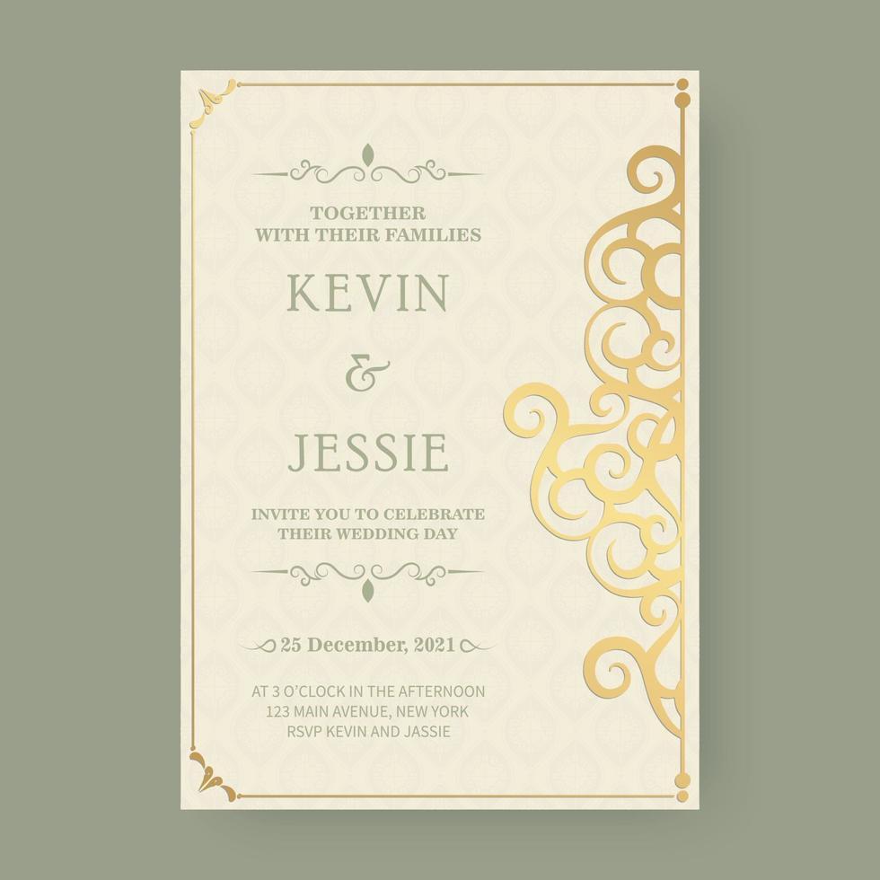 modelo de cartão de casamento elegante e ornamental vetor