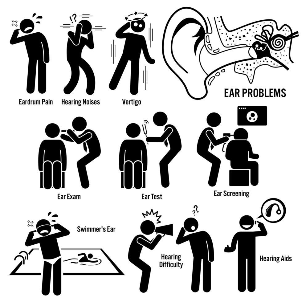 exame de diagnóstico de orelha ícones de pictograma de figura de palito. vetor