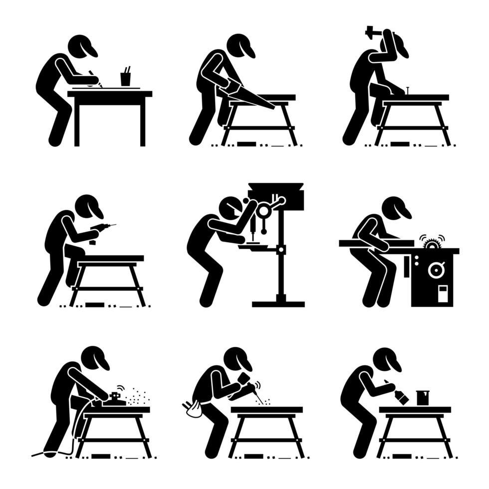 carpinteiro usando ferramentas e equipamentos para marcenaria com uma bancada em uma oficina. vetor