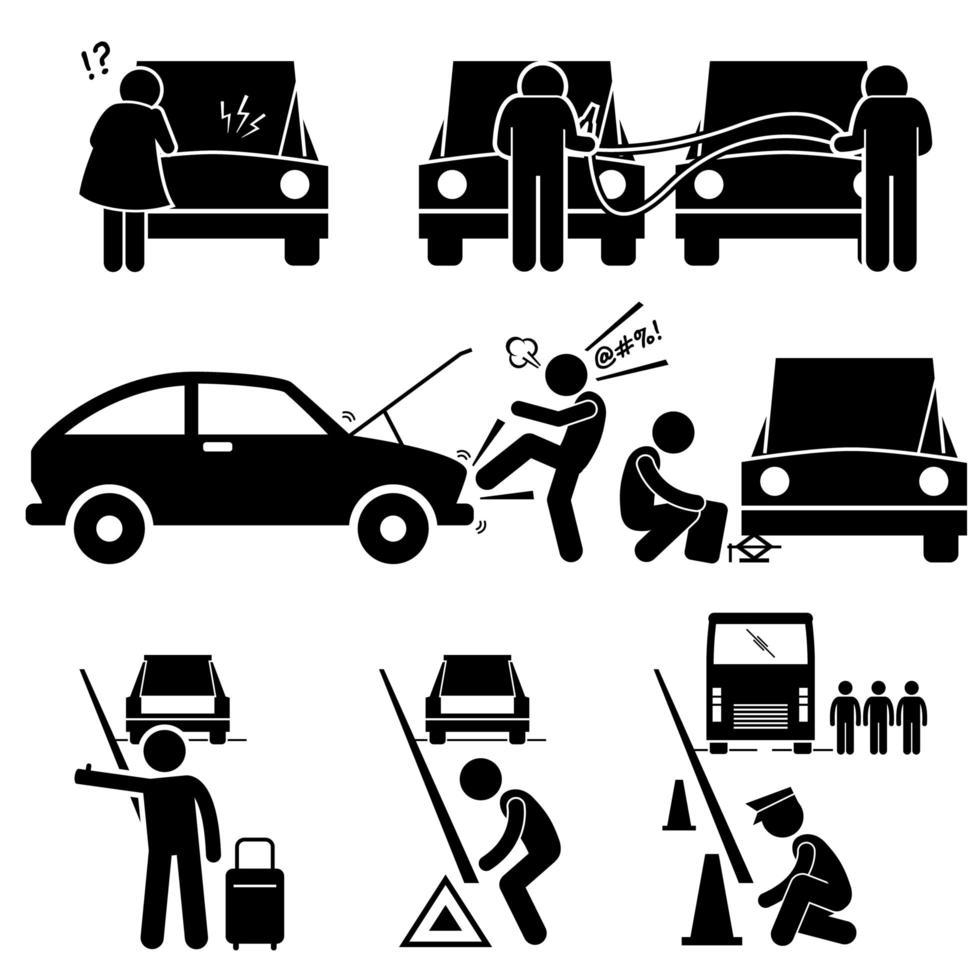 consertar uma avaria do carro quebrou o reparo em ícones de pictograma de bonecos de palito na estrada. vetor