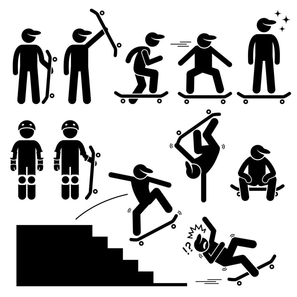 skatista patinando em ícones de pictograma de figura de palito de skate. vetor