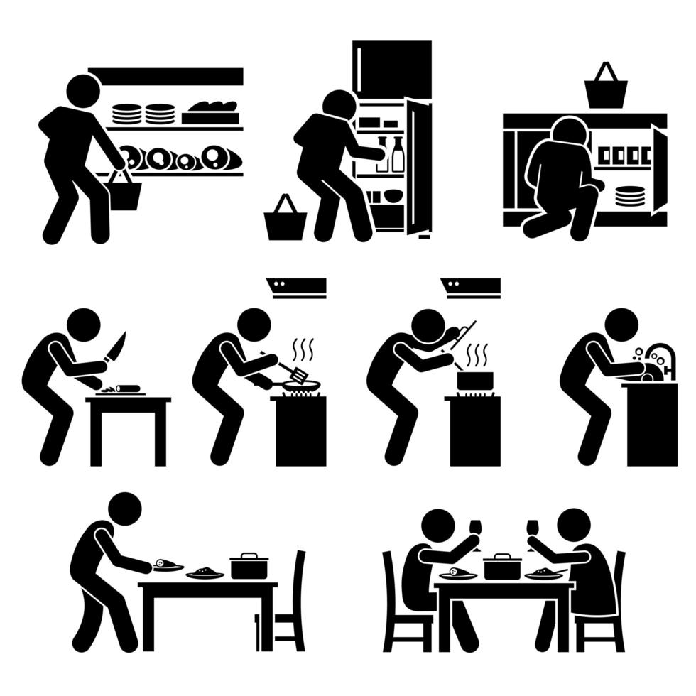 cozinhar em casa e preparar o pictograma de alimentos. vetor