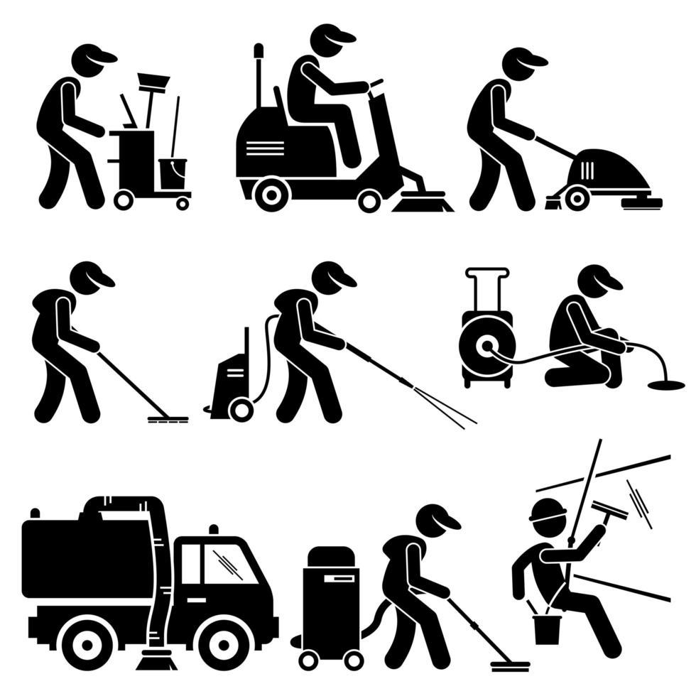trabalhador de limpeza industrial com ferramentas e equipamentos ícones de pictograma de figura de palito. vetor