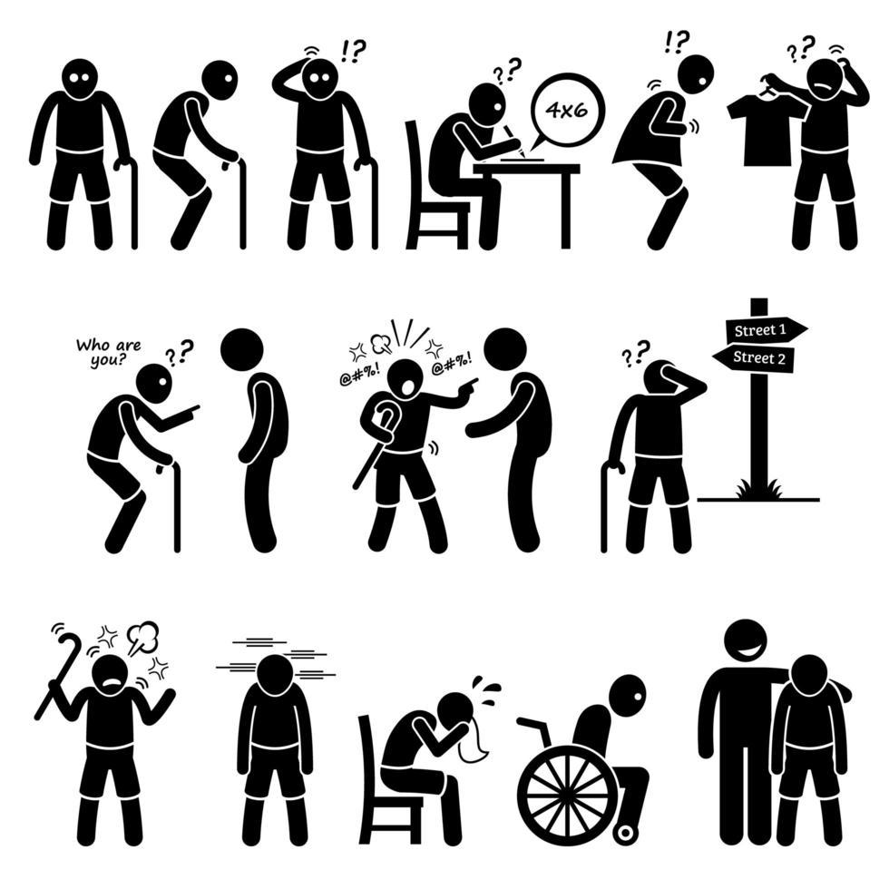 alzheimer e demência idoso idoso stick figura ícones de pictograma. vetor
