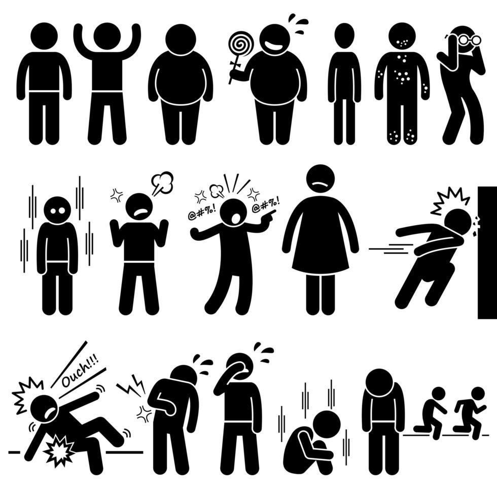 crianças saúde física e mental problema síndrome stick figura pictograma ícones. vetor