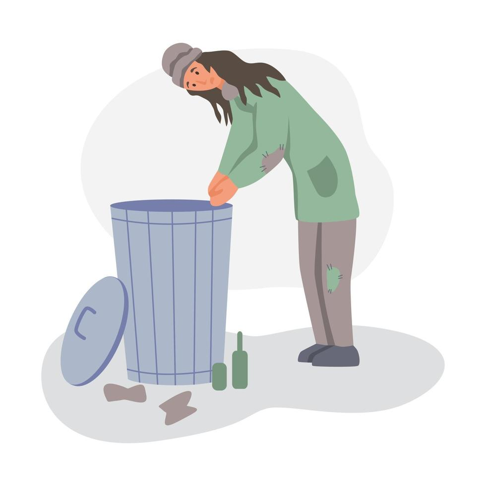 uma mulher sem-teto vasculha uma lata de lixo vetor