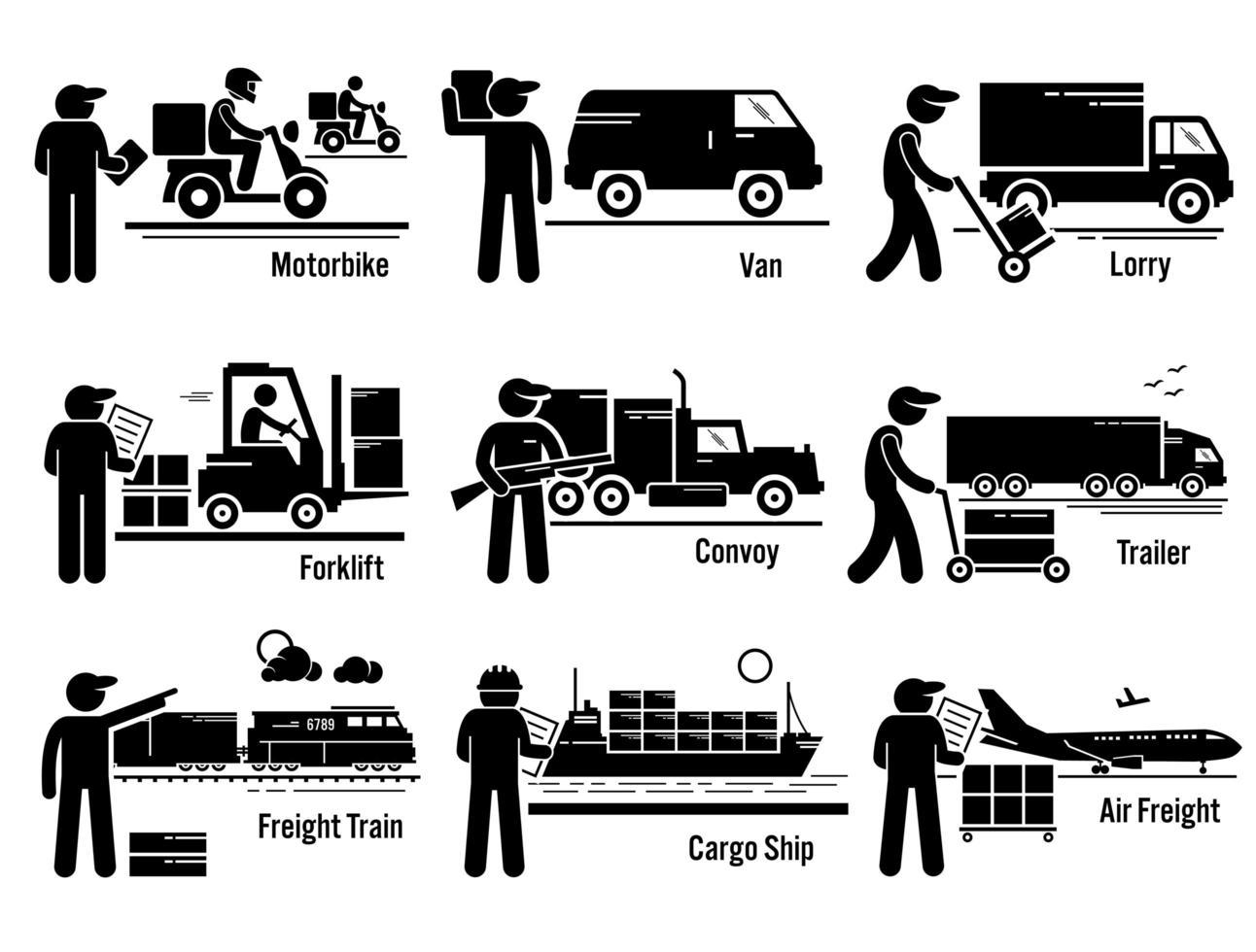 conjunto de veículos de transporte logístico. vetor