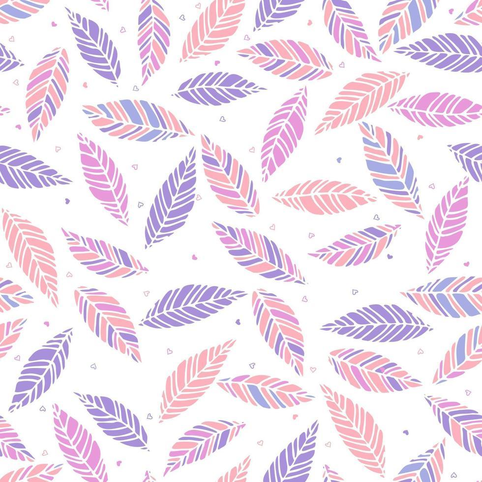 ilustração em vetor de rosa e lilás deixa padrão sem emenda. mão desenhada folha e textura de corações. design de elemento.