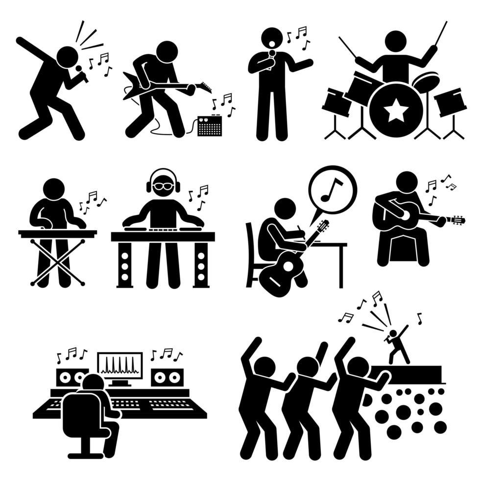 artista da música rock star músico com instrumentos musicais ícones de pictograma de figura de vara. vetor