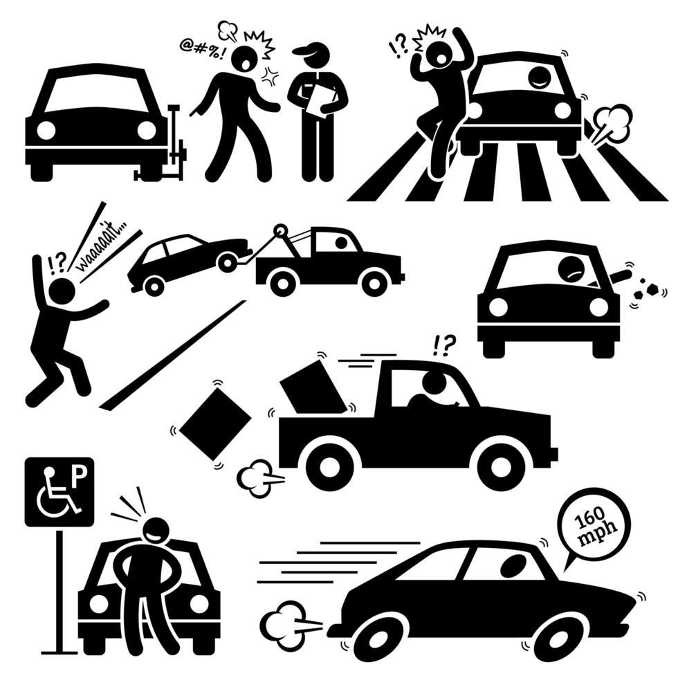 Pictograma de condução furioso de motorista de carro ruim. vetor