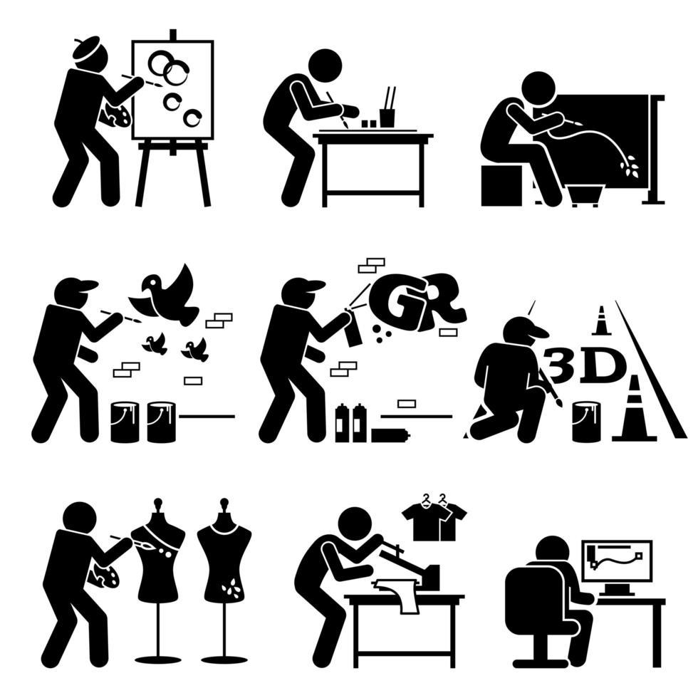 pintor rua artista designer gráfico desenho artes stick figura ícones de pictograma. vetor
