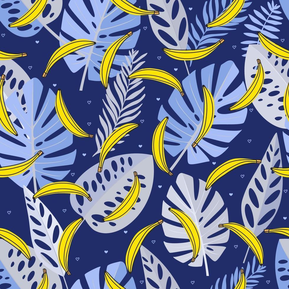padrão sem emenda com folhas azuis, bananas e coração. mão desenhada, vetor, cores brilhantes. plano de fundo para estampas, tecido, papéis de parede, papel de embrulho. vetor