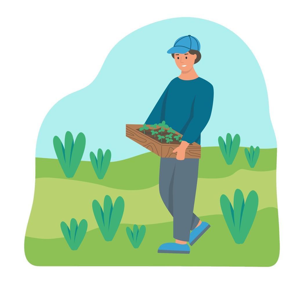 agricultor carrega uma caixa de mudas vetor