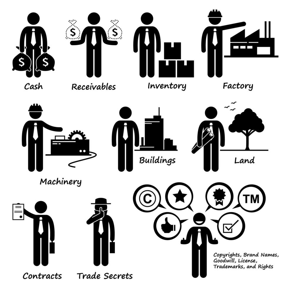 pictograma de ativos de negócios da empresa. vetor