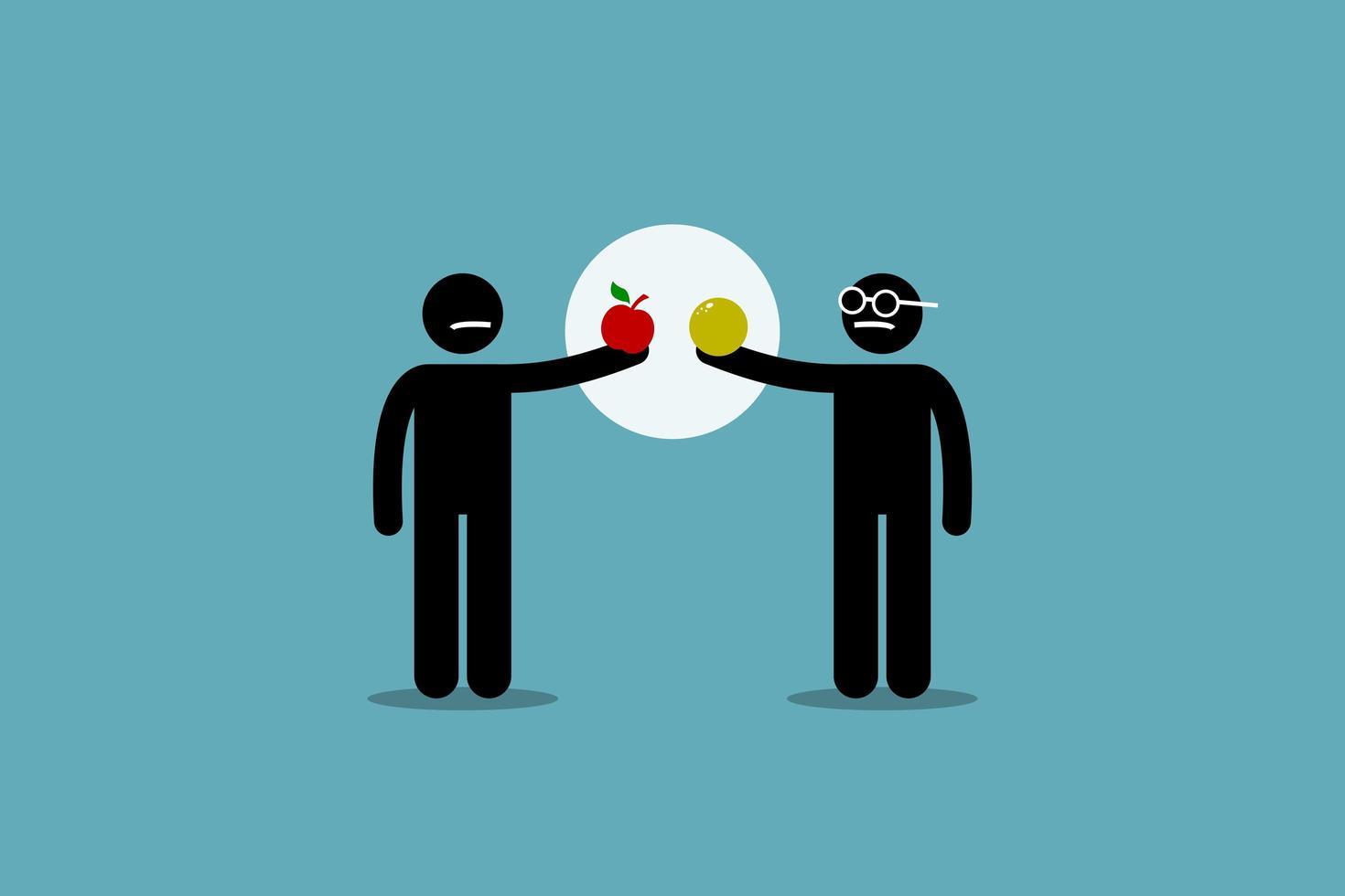 comparando maçã com laranja. vetor