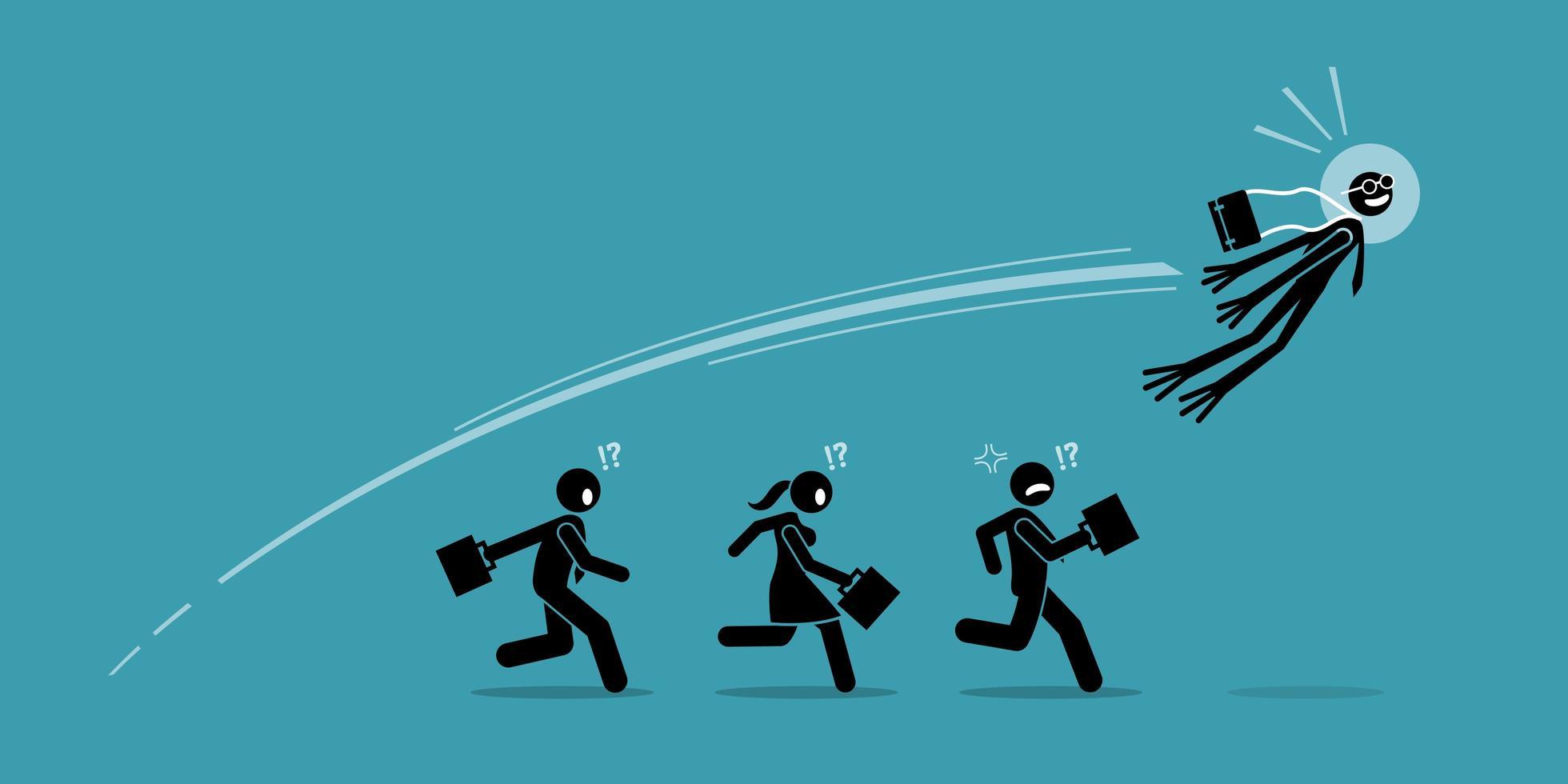 empresário se transforma em sapo e salta sobre todos os seus concorrentes com um salto. vetor