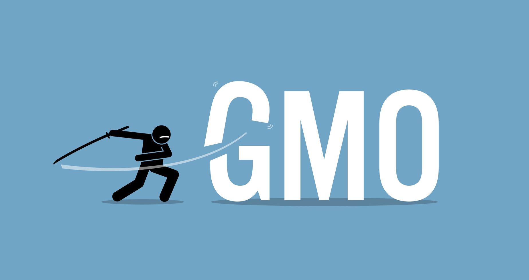 cortar alimentos OGM para uma dieta saudável. vetor