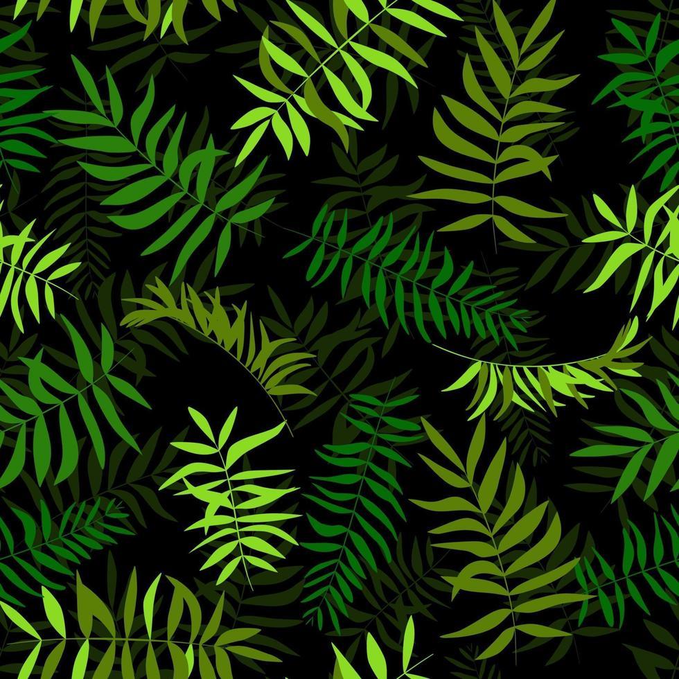 folhas verdes sem emenda. fundo tropical. impressão para teia, tecido e papel de embrulho. vetor