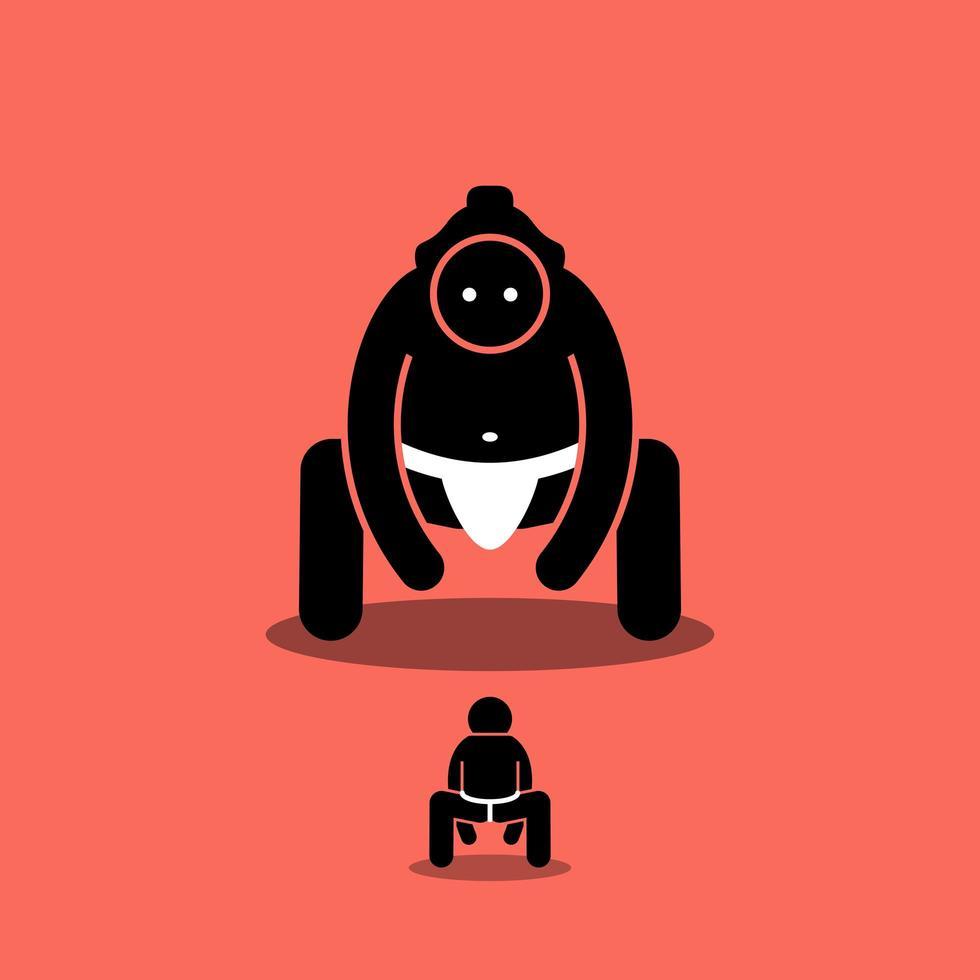 minúsculo homem vs grande lutador de sumô japonês. vetor